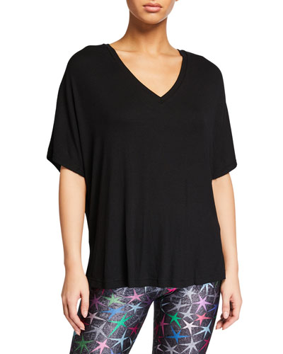 Ribbed V-Neck Short-Sleeve Top, Black