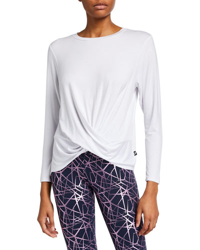Twist Front Long-Sleeve T-Shirt