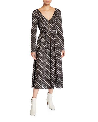 Maca Star-Print Long-Sleeve Midi Dress