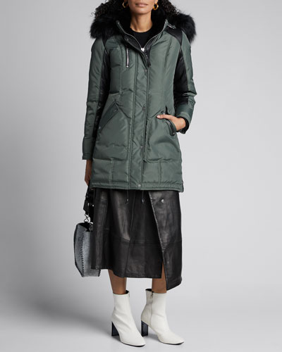 Chelsea Solid Fox Fur Trimmed Puffer Coat
