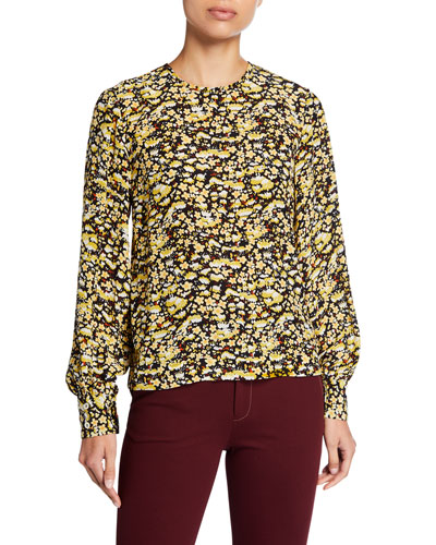 Karolina Printed Silk Long-Sleeve Blouse