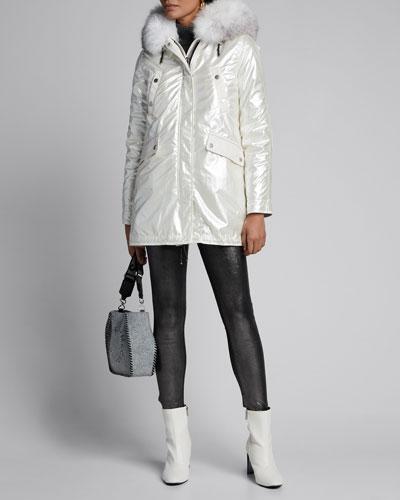 Beilleville Intarsia Fur Trimmed & Lined Coat