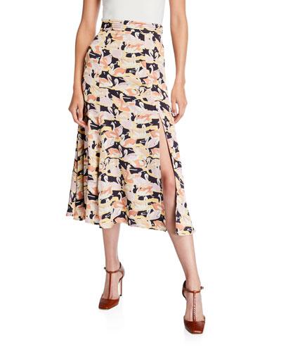 Jada Printed Slit Midi Skirt