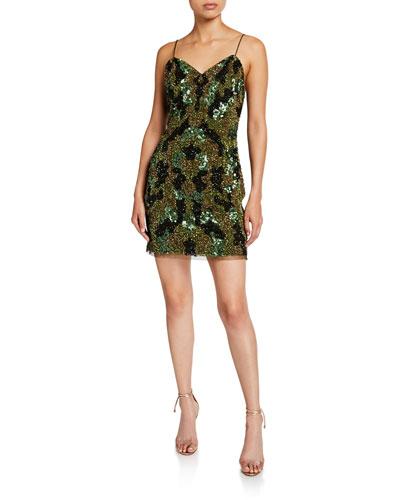 Camo Sequin Sweetheart Mini Slip Dress