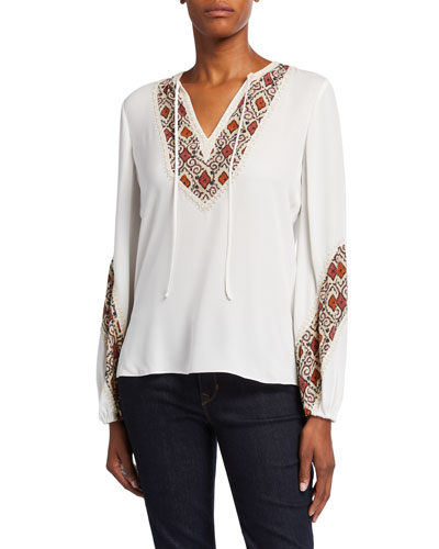 Cory Long-Sleeve Silk Blouse with Printed Bib