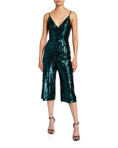 Stripe Sequin V-Neck Sleeveless Crop Jumpsuit