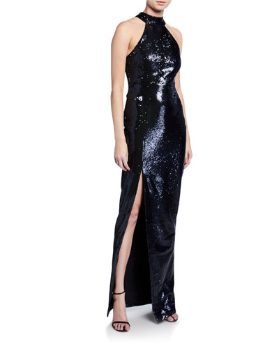 Carrie Sequin Halter Column Gown with Slit
