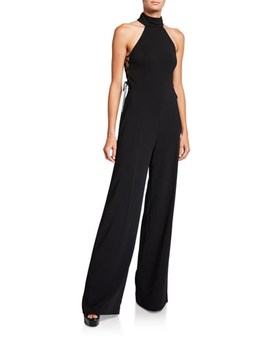 Cicero Side Lace-Up Halter Jumpsuit