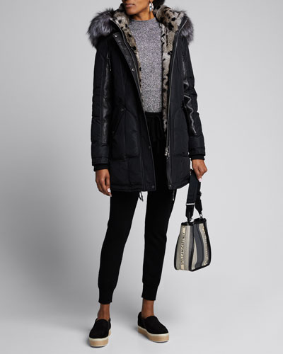 Chelsea Intarsia Fur-Lined Coat