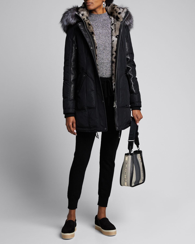 Nicole Benisti Coats CHELSEA INTARSIA FUR-LINED COAT