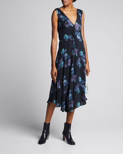 Painted Floral Twist Front Sleeveless Crinkle Dress