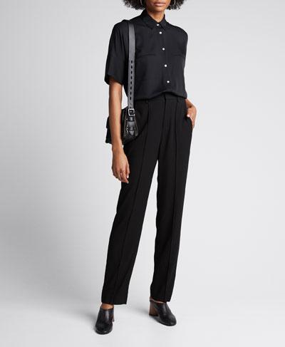 High-Waist Tailored Pintuck Trousers