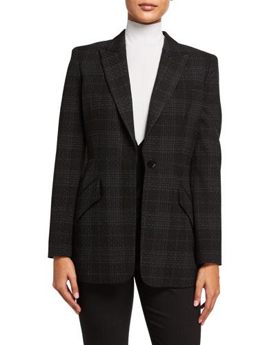 Madison Plaid One-Button Jacket