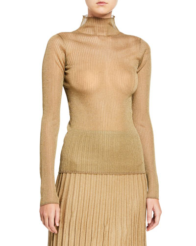 Metallic Ribbed Mock-Neck Top