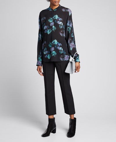 Painted Floral Button-Front Long-Sleeve Silk Blouse