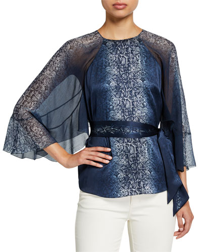 Matilda Python-Print Draped-Sleeve Silk Blouse