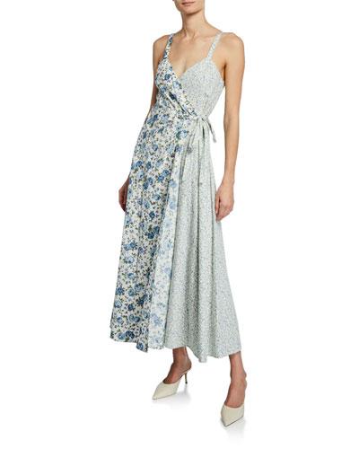 Lisbeth Floral-Print Sleeveless Wrap Dress
