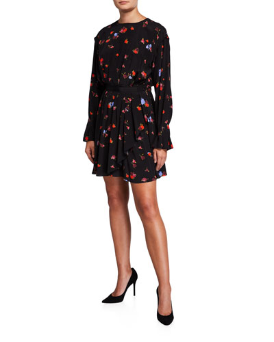 Floral Long-Sleeve Fit-and-Flare Silk Dress