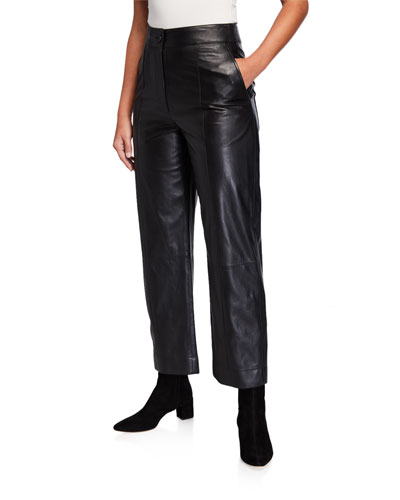 Straight-Leg Leather Pants