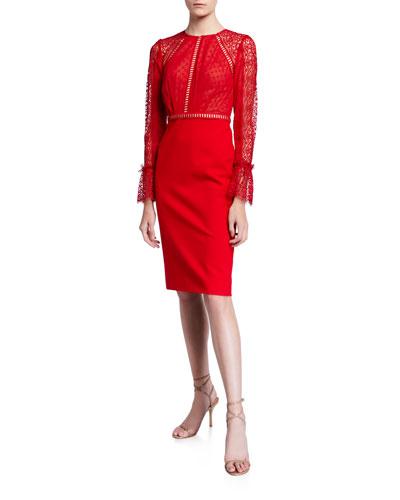 Chiffon-Ponte Lace Long-Sleeve Cocktail Dress