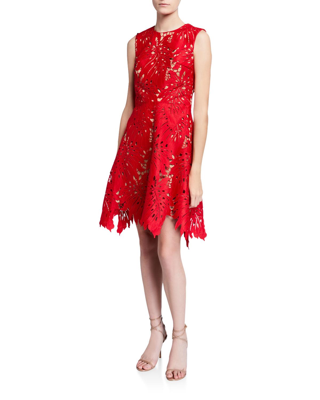 Catherine Deane LEAF LACE SLEEVELESS SHORT DRESS