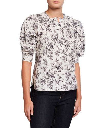Printed Puff-Sleeve Cotton Blouse