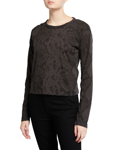 Snake-Print Long-Sleeve Cropped Shirt