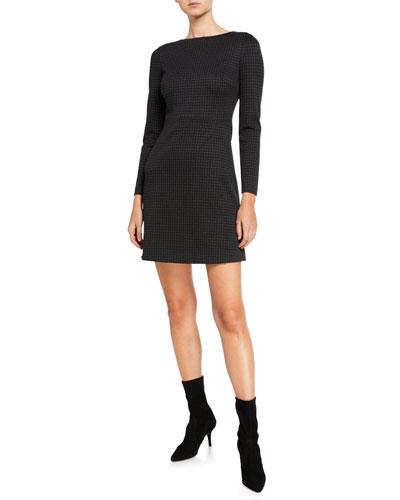 Kamillina Houndstooth Knit Seamed-Waist Dress
