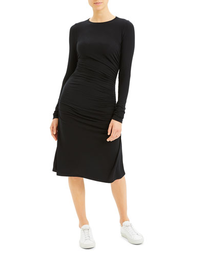 Long-Sleeve Gathered Waist Dress