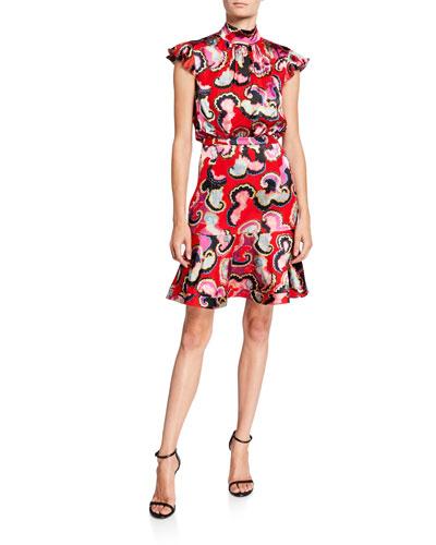 Pheobe Printed Cap-Sleeve Flounce Dress