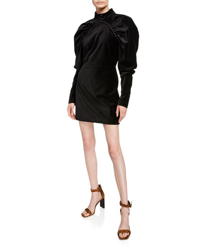 Velvet Puff-Sleeve Mini Dress with Buttons