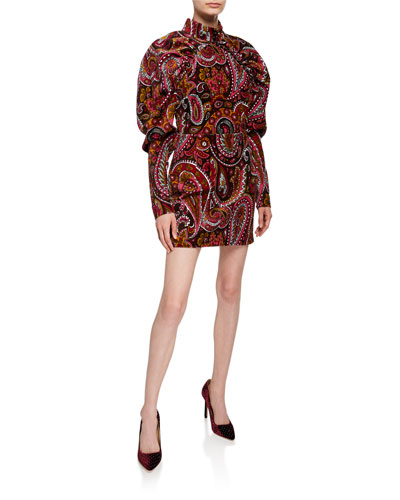 Paisley Velvet Puff-Sleeve Mini Dress