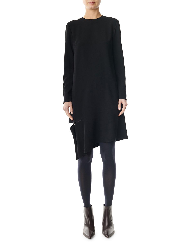 Tibi Dresses TRIACETATE SHIFT DRESS WITH DETACHED HEM