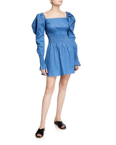 Everly Mutton-Sleeve Short Dress