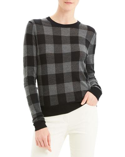 Plaid Crew Silken Knit Sweater