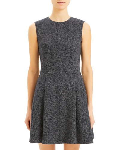 Sleeveless Seamed Speckle Knit Fit-&-Flare Dress