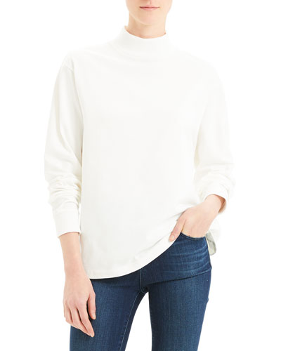 Mock-Neck Long-Sleeve Heavy Jersey Cotton Top
