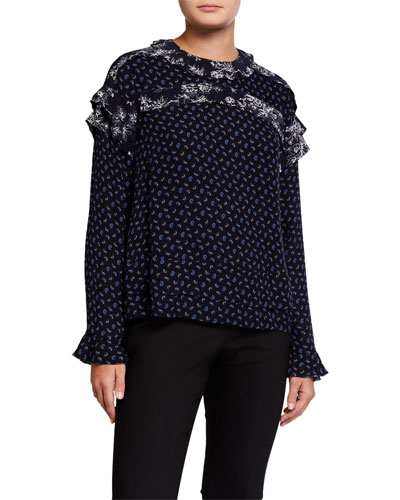 Paisley Long-Sleeve Ruffle Blouse