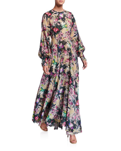 #19 Open-Back Floral Long-Sleeve Maxi Dress