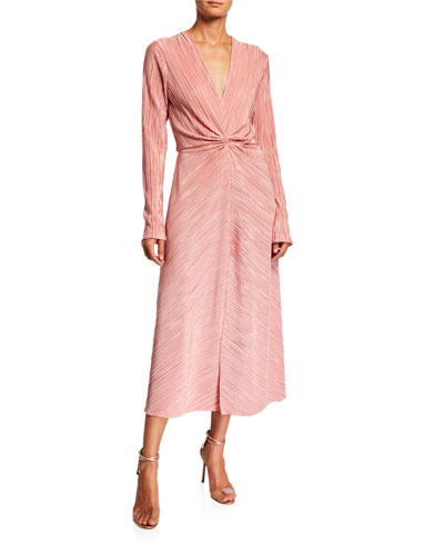 Number 7 Pleated Long-Sleeve Metallic Cocktail Dress