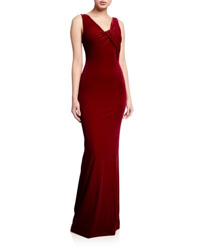Ryland V-Neck Sleeveless Velvet Column Gown