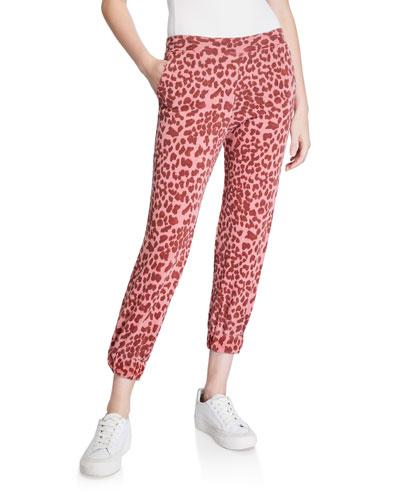 Leopard-Print Cropped Sweatpants w/ Ruched Cuff
