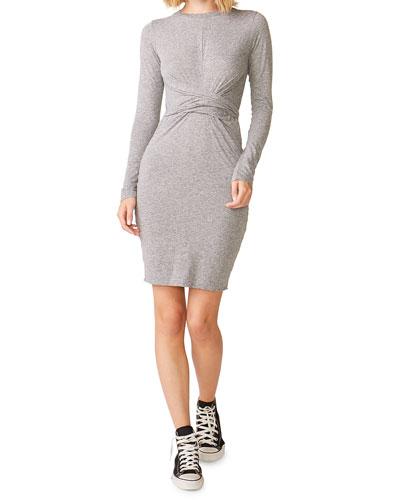Wrapped Long-Sleeve Tee Dress