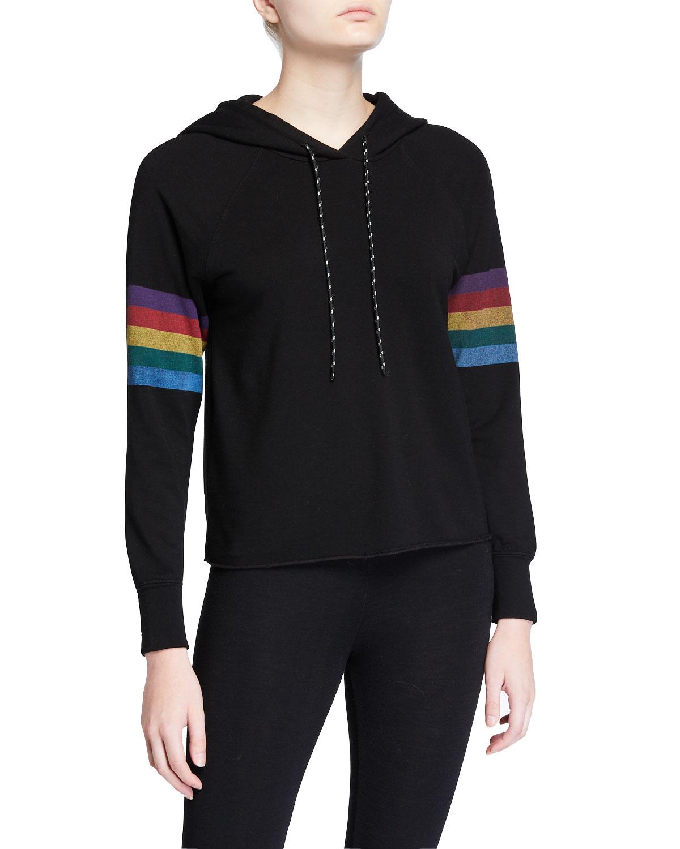 Raw-Edge Hoodie Sweatshirt with Striped Sleeves