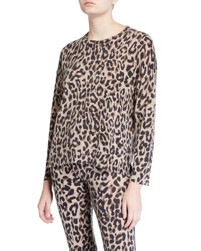 Leopard Crewneck Wool/Cashmere Sweater