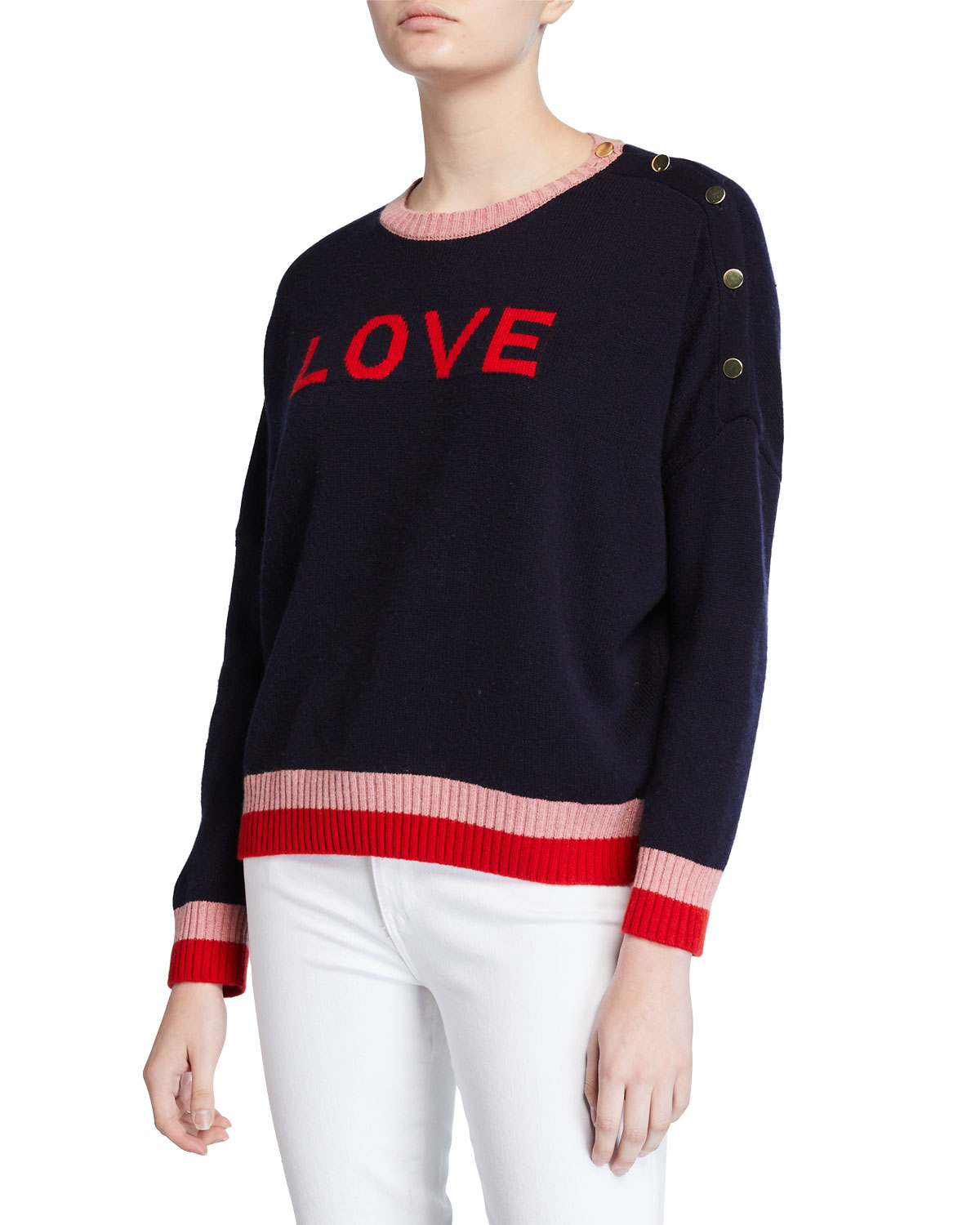 Sundry Sweaters LOVE GRAPHIC BUTTON SWEATER