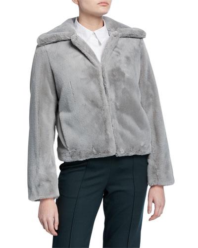 Luxe Faux-Fur Portrait-Neck Jacket