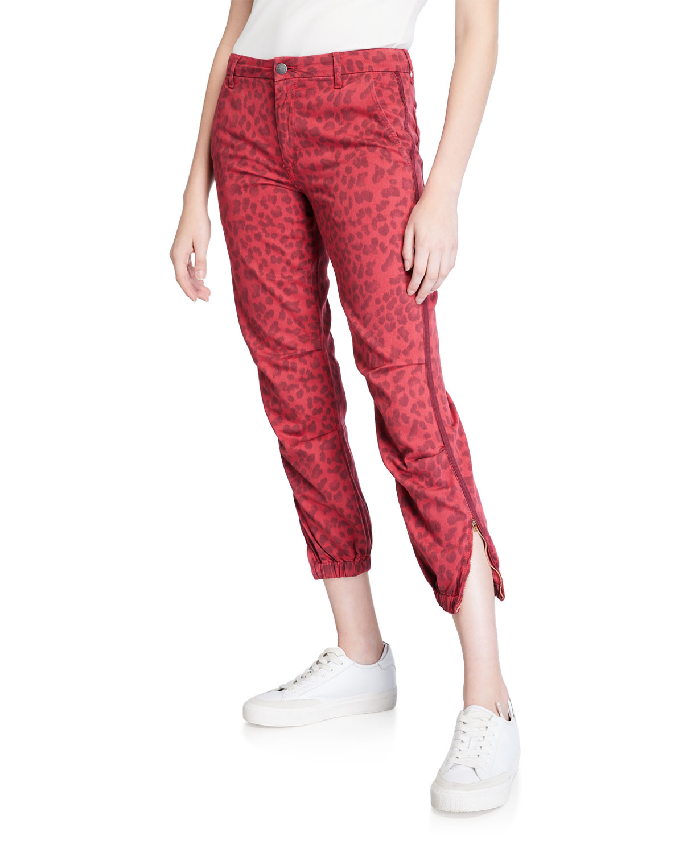Sundry Pants LEOPARD-PRINT CROPPED JOGGER PANTS