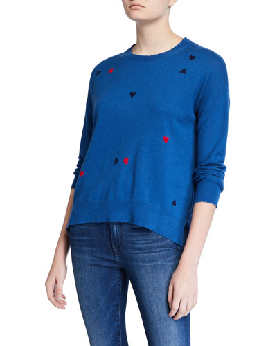 Heart-Print Wool-Cashmere Sweater