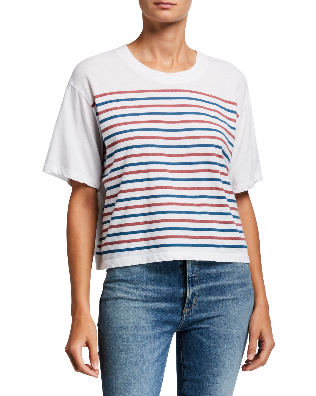 Sundry Tops STRIPED BOXY CROPPED TEE